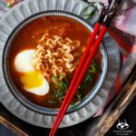 Spicy Korean Kimchi Ramen with Pork Belly, Scallion and Poached Egg | sharedappetite.com