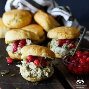 Avocado Jalapeno Turkey Salad Biscuit Sandwiches with Pickled Cranberries