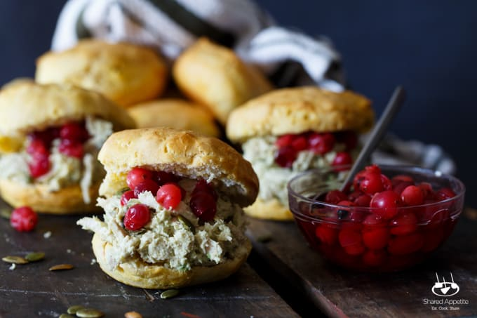 Avocado Jalapeno Turkey Salad Biscuit Sandwiches with Pickled Cranberries | sharedappetite.com
