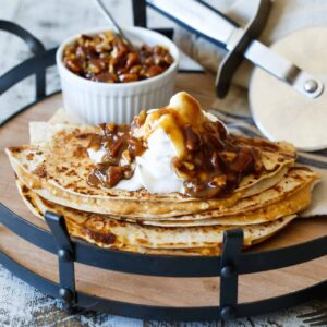 Pumpkin Cheesecake Quesadillas with Pecan Praline Topping | sharedappetite.com