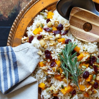 Vegan Roasted Butternut Squash, Apple, and Cranberry Rice Pilaf with Walnuts and Pepitas   sharedappetite.com