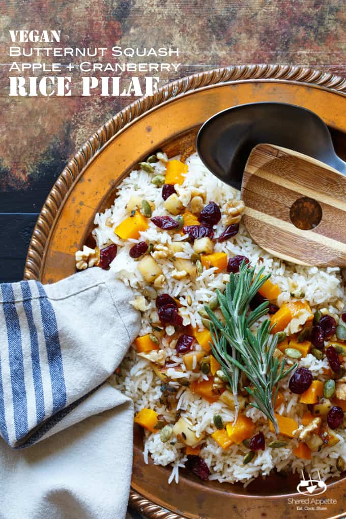 Vegan Roasted Butternut Squash, Apple, and Cranberry Rice Pilaf with Walnuts and Pepitas | sharedappetite.com