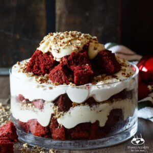 Red Velvet Cake Trifle with Cream Cheese Mascarpone Frosting, Marshmallow Whipped Cream, and Pecans