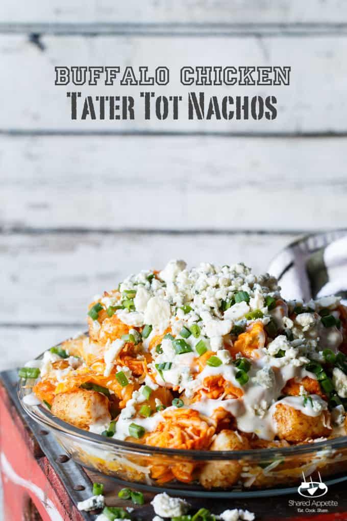 Buffalo Chicken Tater Tot Nachos (Totchos) | sharedappetite.com