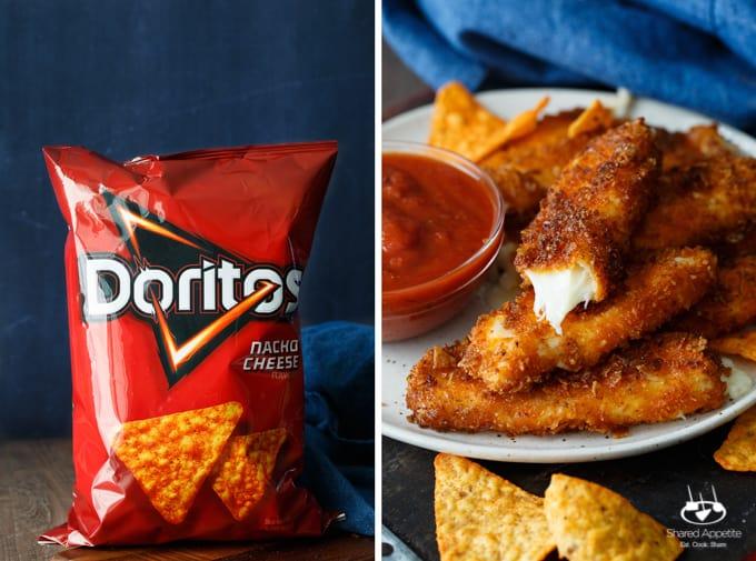 Doritos Crusted Mozzarella Sticks | sharedappetite.com