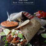 Healthy Korean Pork Burritos with Kimchi, Avocado, and Gochujang Aioli | sharedappetite.com