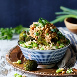 Slow Cooker Thai Peanut Chicken Quinoa Bowls | sharedappetite.com