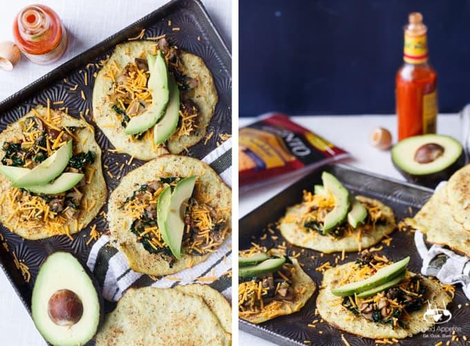 Vegetarian Chipotle Mushroom, Leek, and Kale Tacos on Cauliflower Tortillas | sharedappetite.com