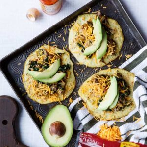 Vegetarian Chipotle Mushroom, Leek, and Kale Tacos on Cauliflower Tortillas | sharedappetite.com
