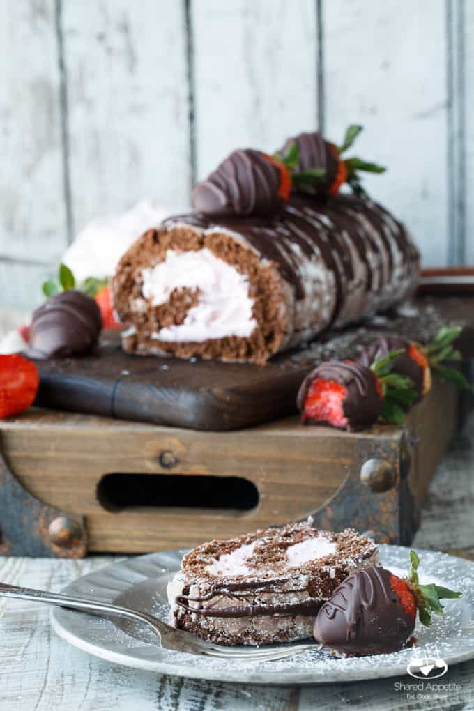 Chocolate Covered Strawberry Cake Roll | sharedappetite.com