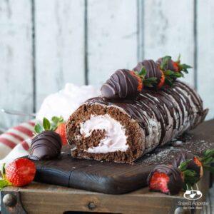 Chocolate Covered Strawberry Cake Roll   sharedappetite.com