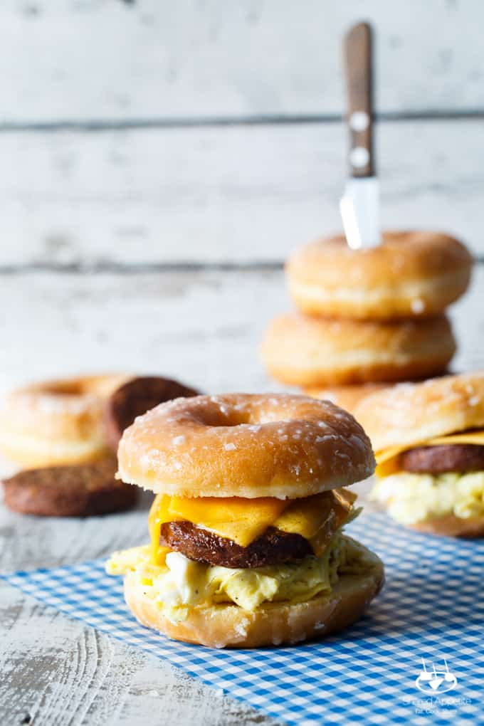 Sausage, Egg, and Cheese Donut Breakfast Sandwiches   sharedappetite.com