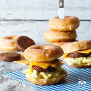 Sausage, Egg, and Cheese Donut Breakfast Sandwiches