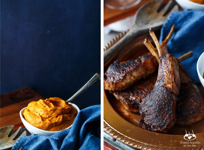 Southwest Ancho Chile Crusted Lamb Chops with Jalapeno Bourbon Sauce and Ancho Sweet Potato Puree | sharedappetite.com