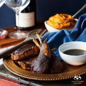 Southwest Ancho Chile Crusted Lamb Chops with Jalapeno Bourbon Sauce