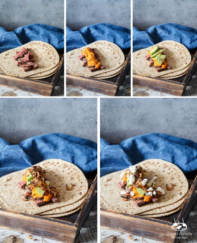 Steak, Romesco, and Goat Cheese Wrap with Avocado and Crispy Shallots | sharedappetite.com