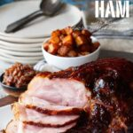 Chipotle Pineapple Bourbon Glazed Ham with Bacon Jam and Ancho Chile Dusted Pineapple   sharedappetite.com A perfect creative twist on holiday dinner. Perfect for a bold Easter menu!