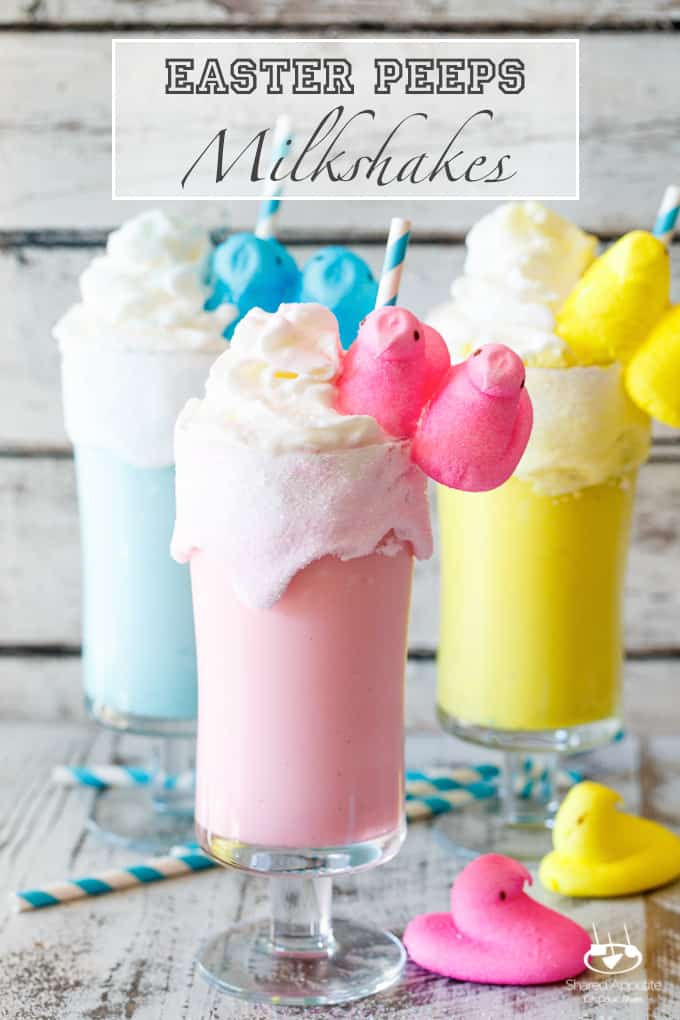 Toasted Marshmallow Easter Peeps Milkshakes | sharedappetite.com A super quick and easy kid-friendly easter dessert recipe!
