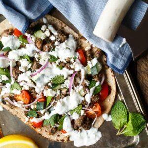Mediterranean Lamb Flatbread | sharedappetite.com A super easy and healthy weeknight dinner!