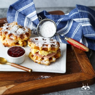 Monte Cristo Waffle Breakfast Sandwiches | sharedappetite.com A perfect way to to repurpose your Easter holiday leftovers for an epic post-holiday breakfast! Best of all, it's only 5 ingredients and super quick prep!