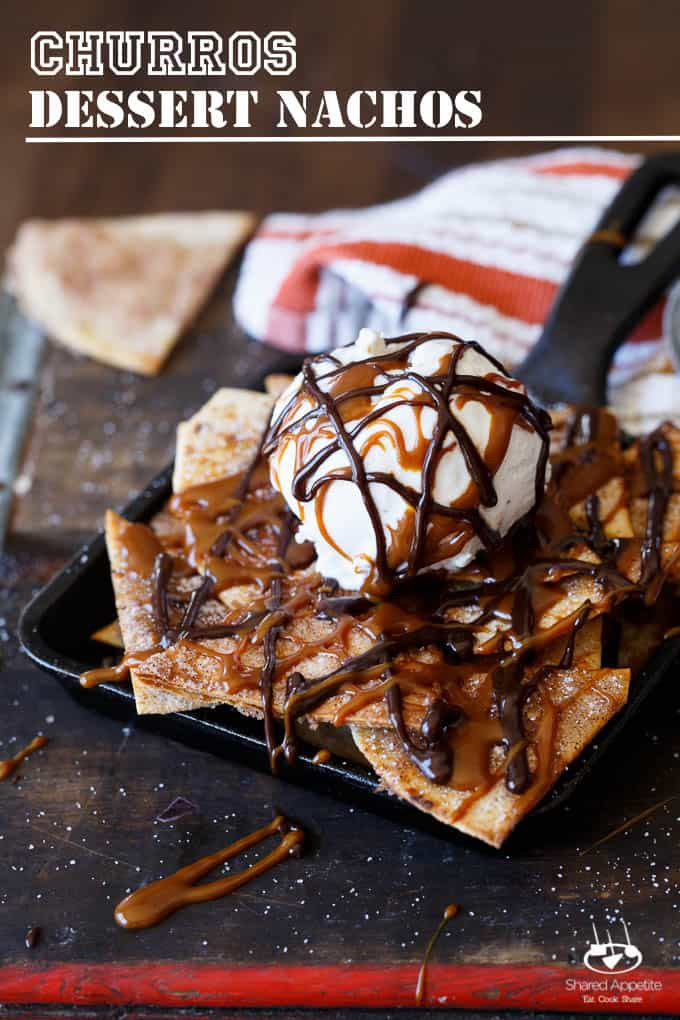 Churros Dessert Nachos with Mexican Hot Fudge and Dulce De Leche | sharedappetite.com