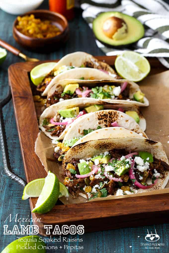 Mexican Lamb Tacos With Tequila Soaked Raisins And Pepitas