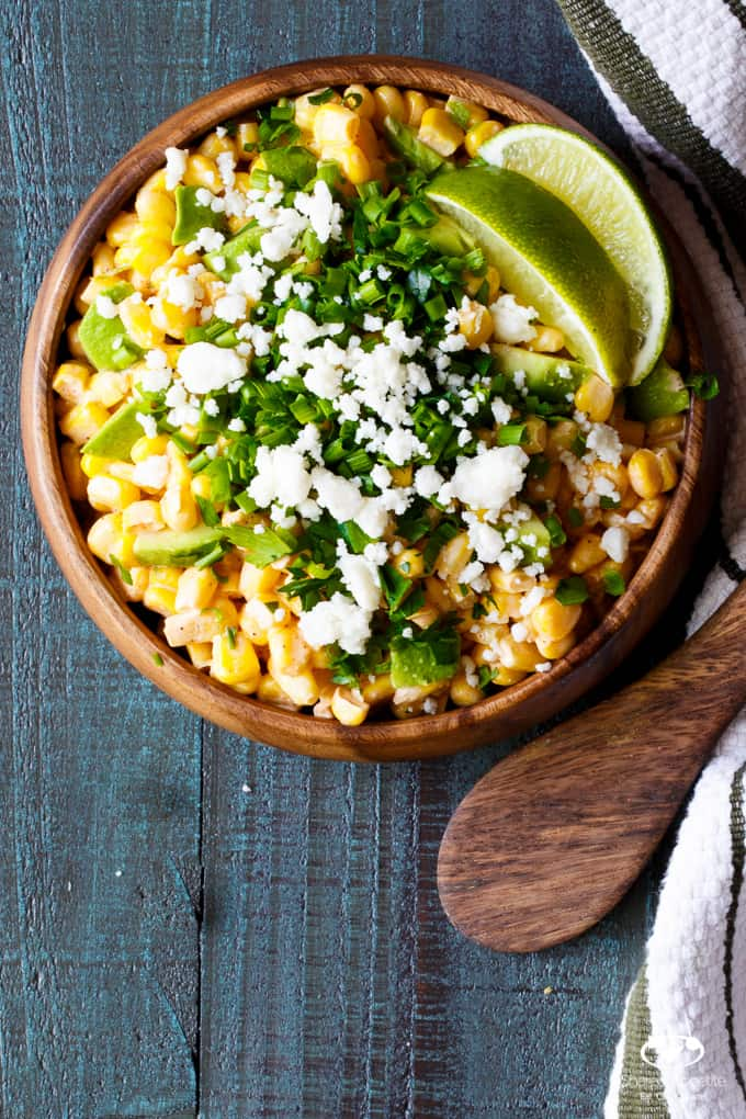 Mexican Street Corn and Avocado Dip | sharedappetite.com All the flavor of traditional Mexican Street Corn, transformed into an easy entertaining summer appetizer dip recipe!