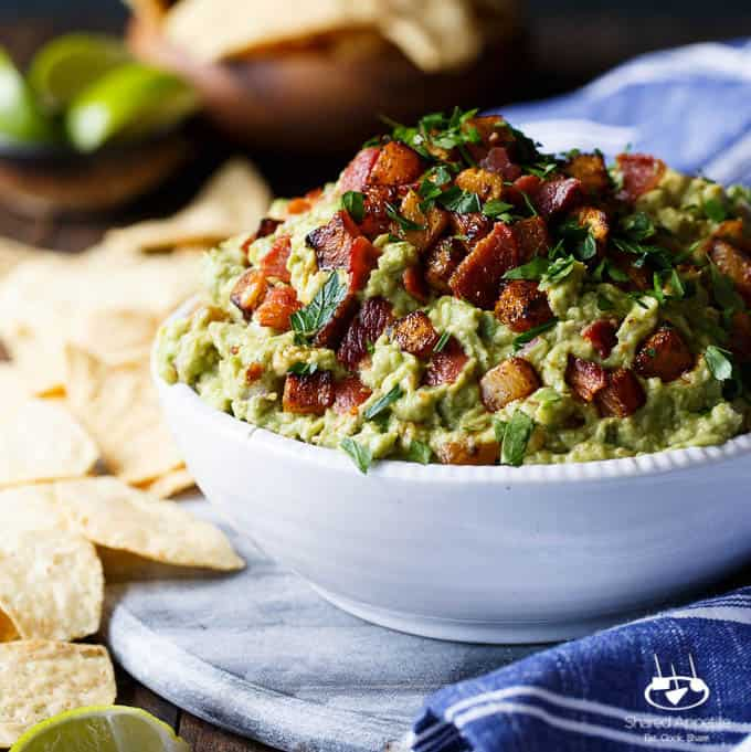 Spicy Caramelized Pineapple Bacon Guacamole