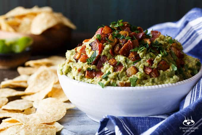 Spicy Caramelized Pineapple Bacon Guacamole | sharedappetite.com