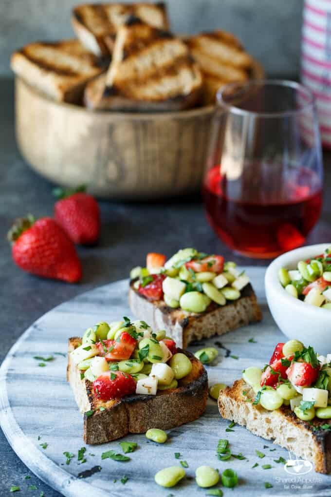 Strawberry, Fava Bean, and Pecorino Crostini | sharedappetite.com A perfect easy entertaining summer appetizer!