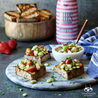 Strawberry, Fava Bean, and Pecorino Crostini | sharedappetite.com A perfect easy entertaining summer appetizer!