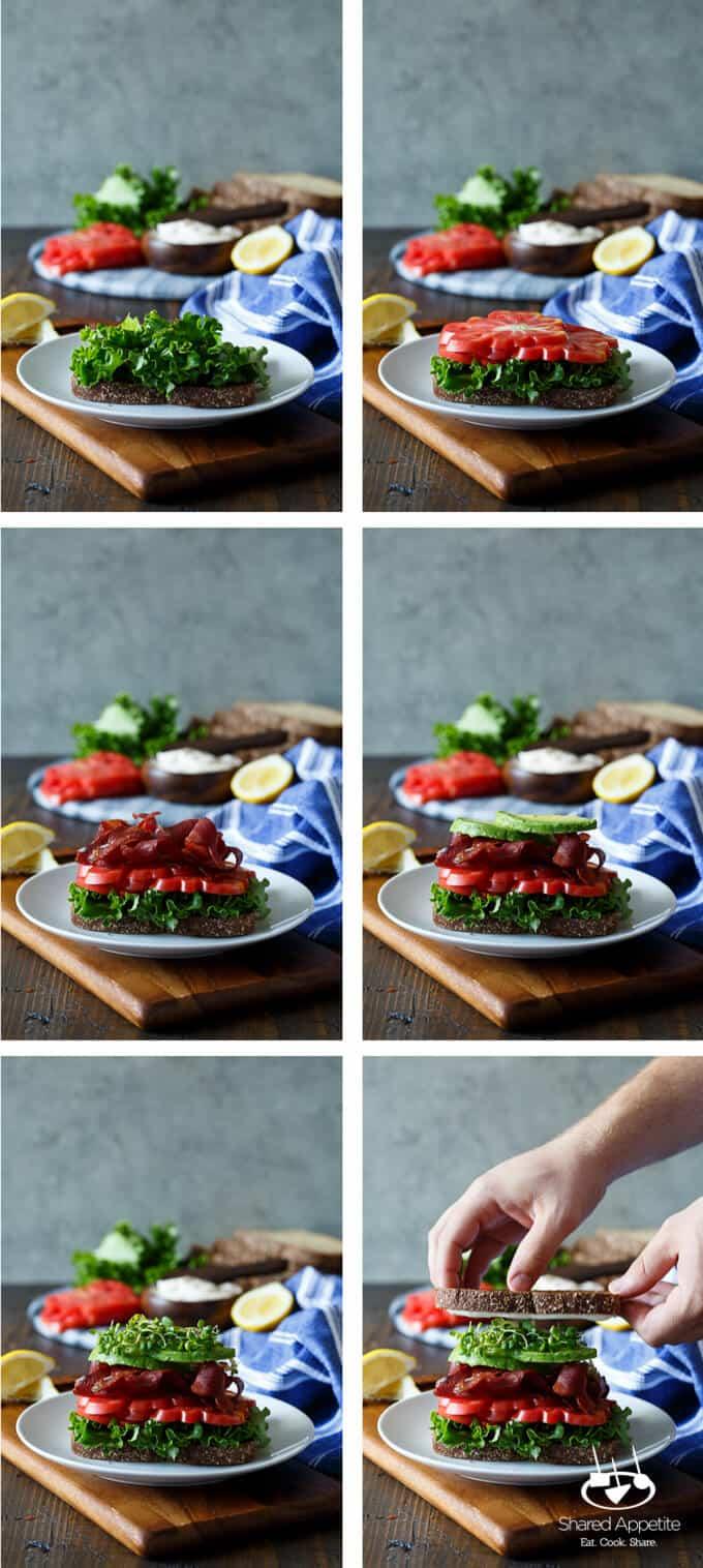 Healthy California BLT with Lemon Aioli, Turkey Bacon, Avocado, and Sprouts | sharedappetite.com