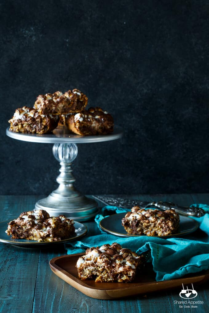 S'mores Oatmeal Bars   sharedappetite.com Blondies jam packed with oatmeal, mini marshmallows, and chocolate!