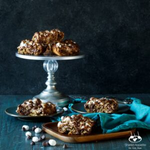 S'mores Oatmeal Bars | sharedappetite.com Blondies jam packed with oatmeal, mini marshmallows, and chocolate!