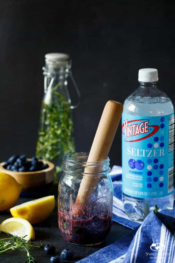 Sparkling Blueberry Thyme Lemonade | sharedappetite.com