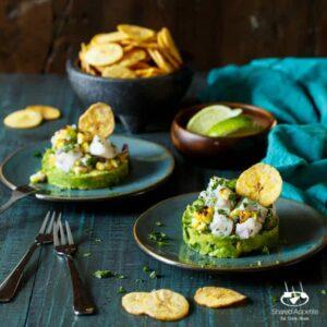 Spicy Roasted Corn Barramundi Ceviche with Avocado and Plantain Chips   sharedappetite.com