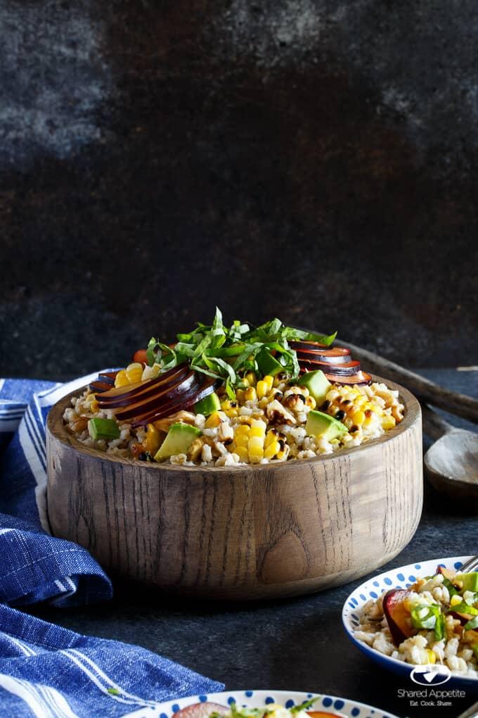 Vegan Grilled Corn, Plum, and Avocado Grain Salad with Basil and Walnuts | sharedappetite.com
