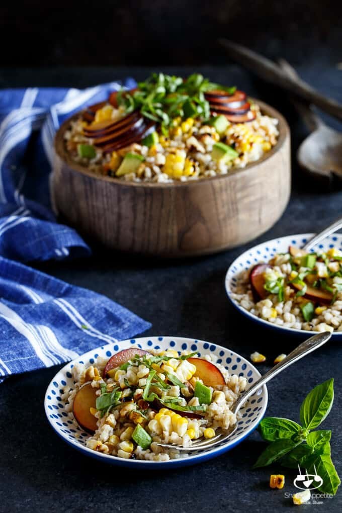 Vegan Grilled Corn, Plum, and Avocado Grain Salad with Basil and Walnuts | sharedappetite.com