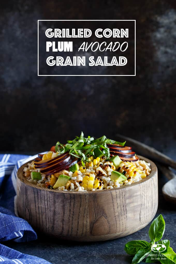 Grilled Corn, Plum, and Avocado Grain Salad with Basil and Walnuts | sharedappetite.com