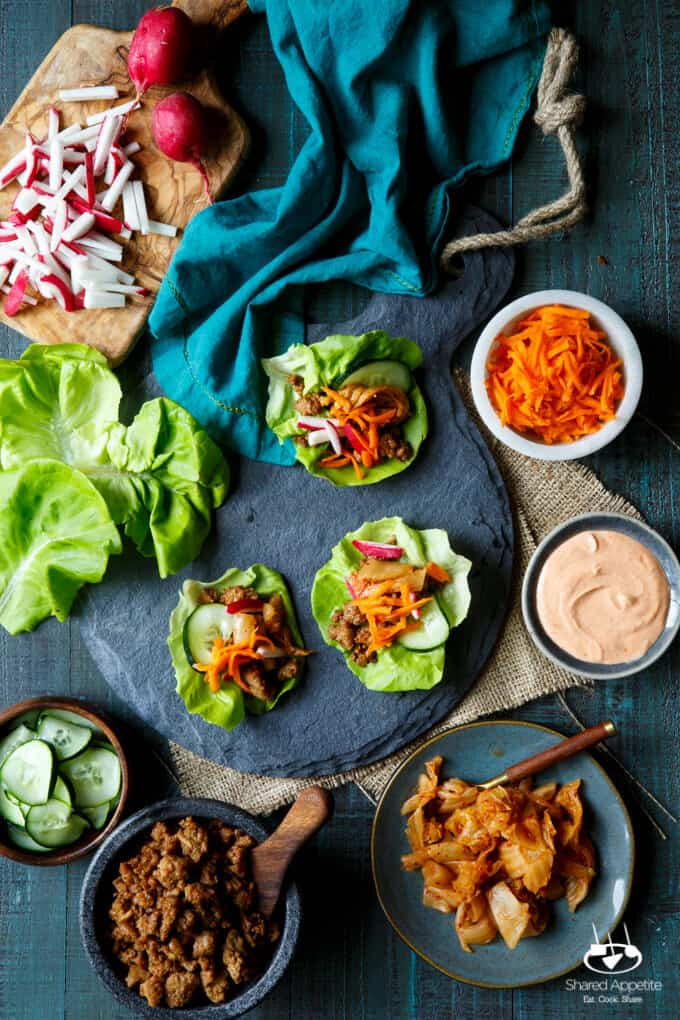 Korean Turkey Lettuce Wraps with Kimchi, Pickled Carrots, Quick Pickled Cucumbers, Radish, and Gochujang Aioli | sharedappetite.com