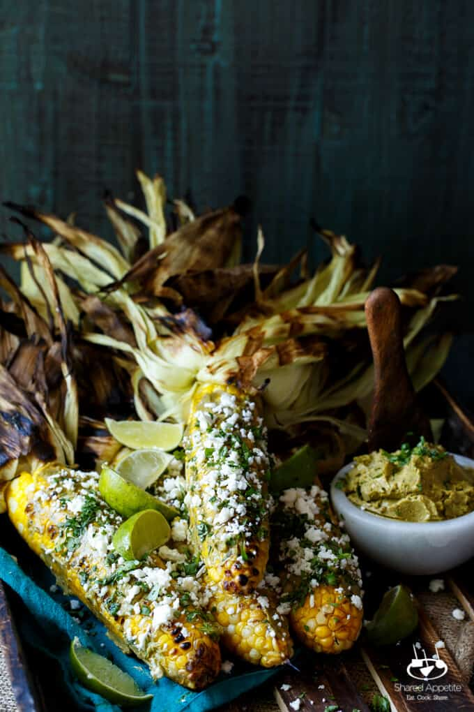 Roasted Corn with Sriracha Avocado Butter, Queso Fresco, and Cilantro | sharedappetite.com