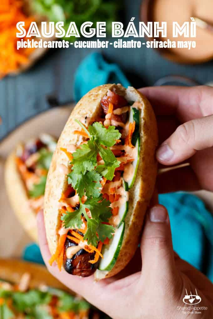 Spiral Cut Sausage Bánh mì with turkey sausage, pickled carrots, cucumber, sriracha mayo, and cilantro | sharedappetite.com