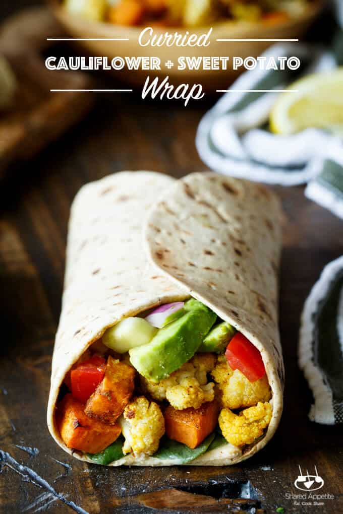 Vegan Curried Cauliflower and Sweet Potato Wrap with Hummus, Avocado ...