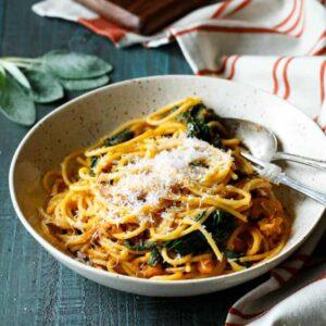 Butternut Squash Spaghetti with Chorizo and Spinach | sharedappetite.com