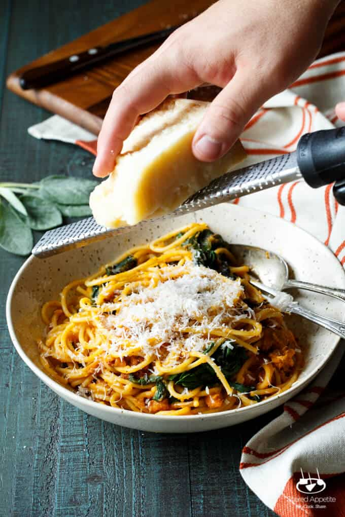 Butternut Squash Spaghetti with Chorizo and Spinach | sharedappetite.com