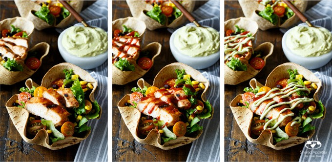 Southwest BBQ Chicken Taco Salad with Avocado Greek Yogurt Dressing | sharedappetite.com