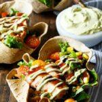 Southwest BBQ Chicken Taco Salad with Avocado Greek Yogurt Dressing | sharedappetite.com