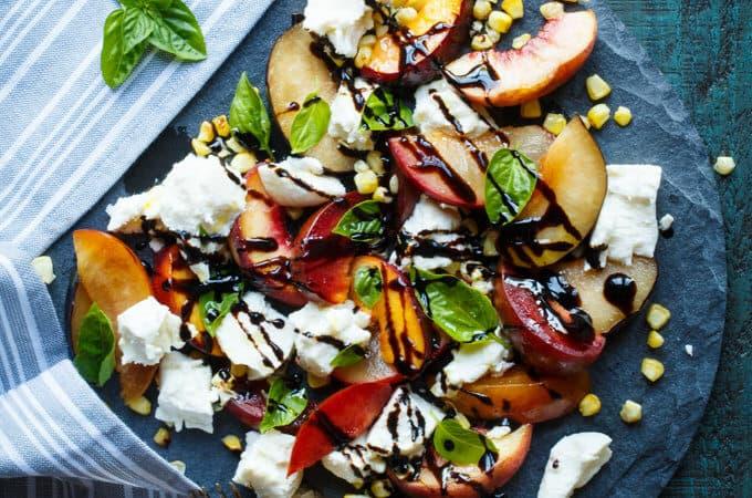 Stone Fruit Caprese Salad with Grilled Corn | sharedappetite.com