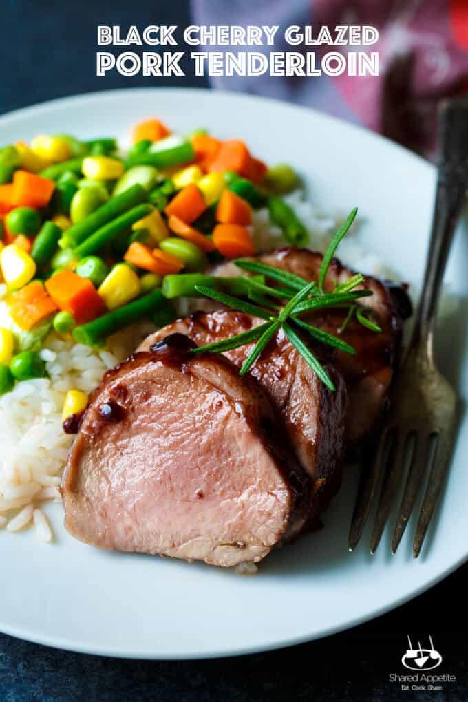 Black Cherry Glazed Pork Loin | sharedappetite.com