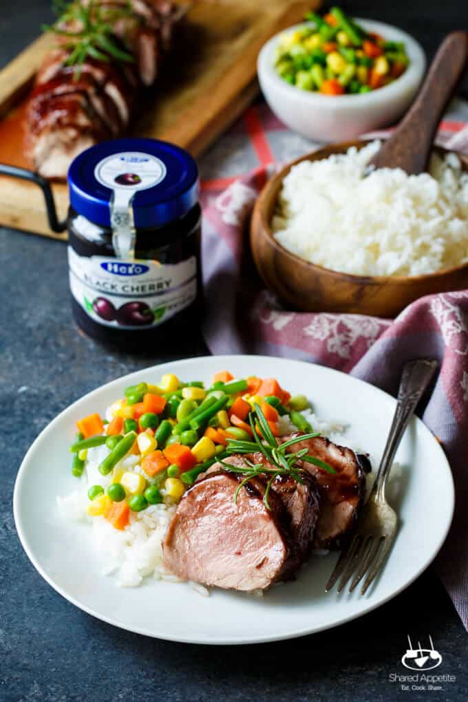 Black Cherry Glazed Pork Tenderloin | sharedappetite.com